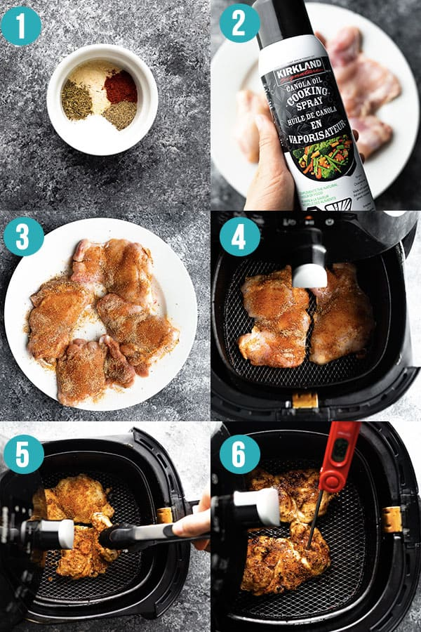 collage image showing how to cook boneless chicken thighs in the air fryer