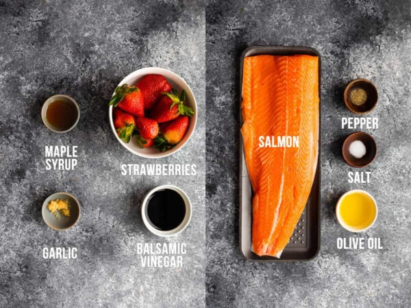 collage image with ingredients required for salmon with strawberry balsamic sauce
