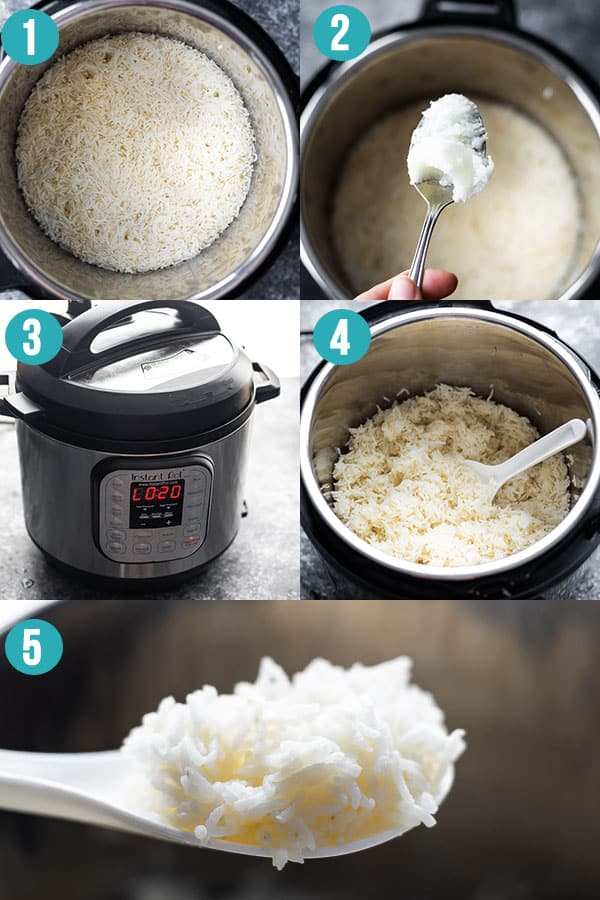 collage image showing how to fluff up basmati rice after cooking in the Instant Pot