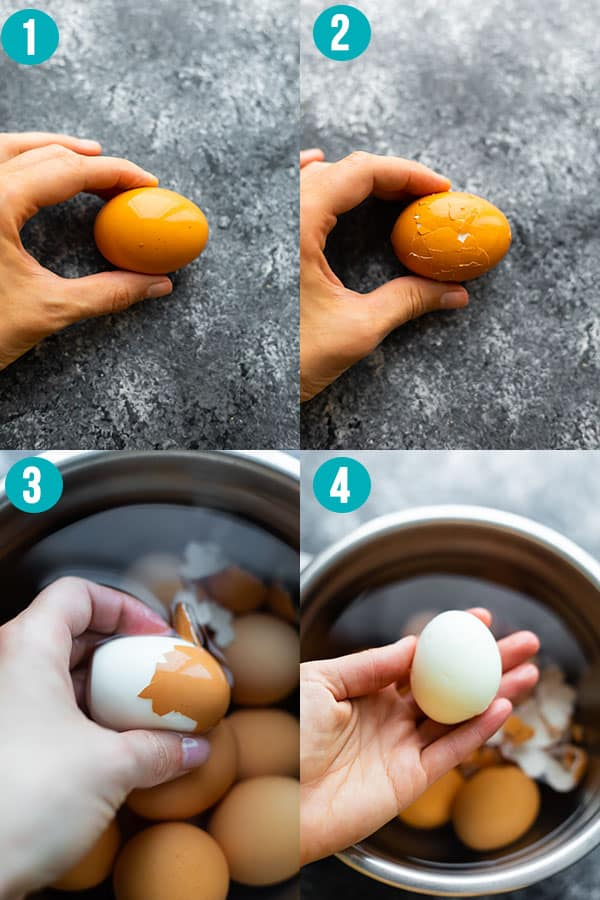 collage image showing how to peel an egg