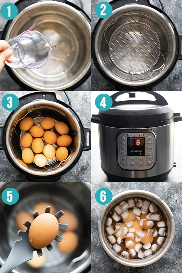 collage image showing step by step directions to cook eggs in the Instant Pot