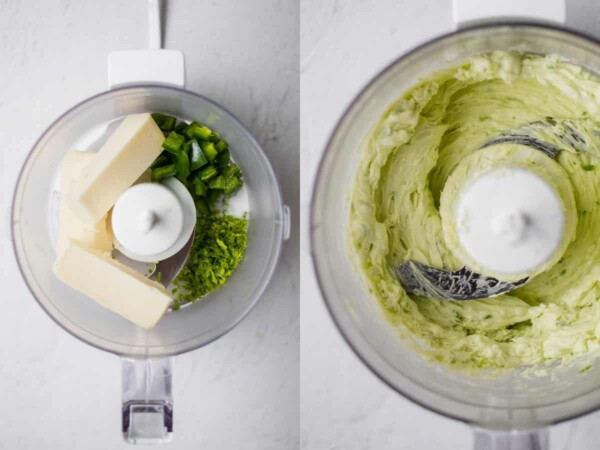collage image of before and after blending up the jalapeno lime butter in a food processor