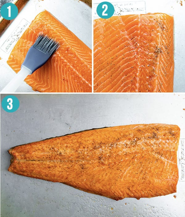 collage image showing how to cook the salmon