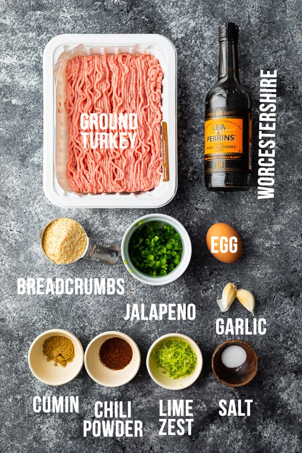 overhead view of ingredients required to make southwestern turkey burger patties