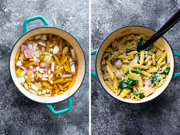 before and after cooking spinach artichoke pasta