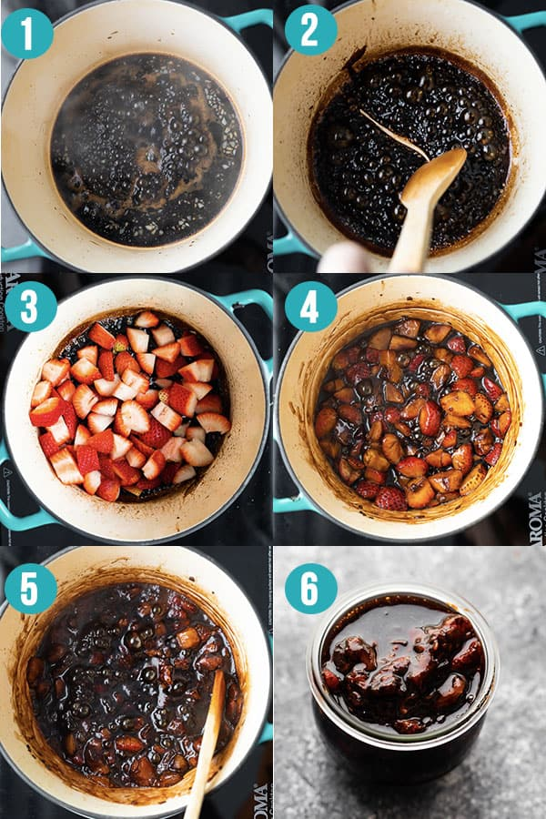 collage image showing how to make strawberry balsamic sauce