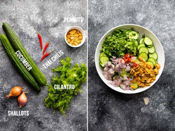 Collage image with the ingredients needed for crunchy asian cucumber salad on the left, with the finished salad in a white bowl on the right