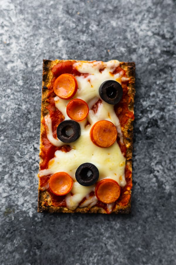 overhead view of pizza flatbread sandwiches