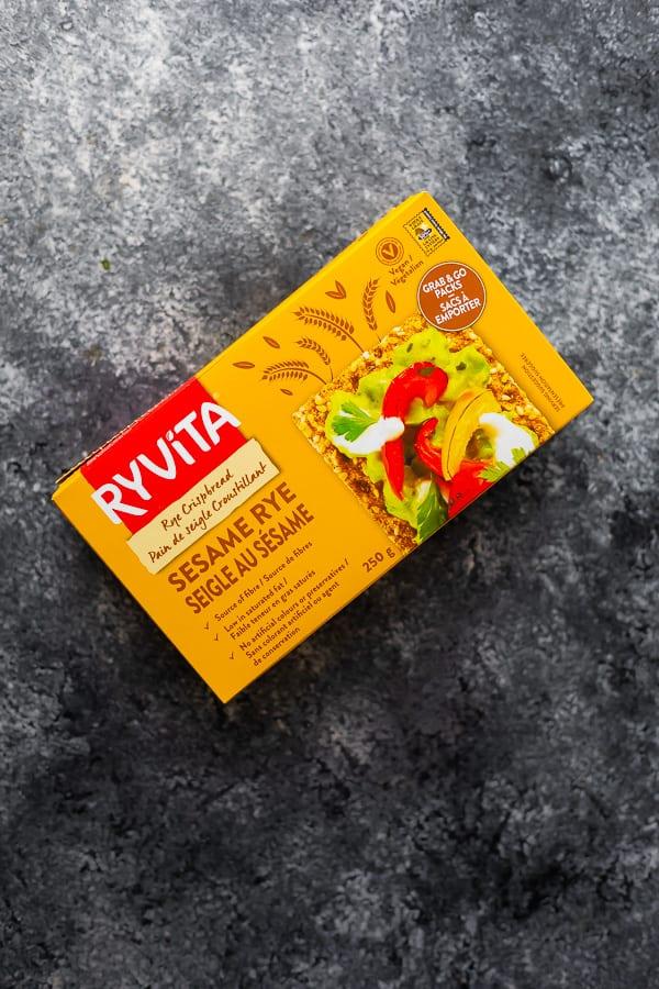 box of Ryvita sesame rye crackers
