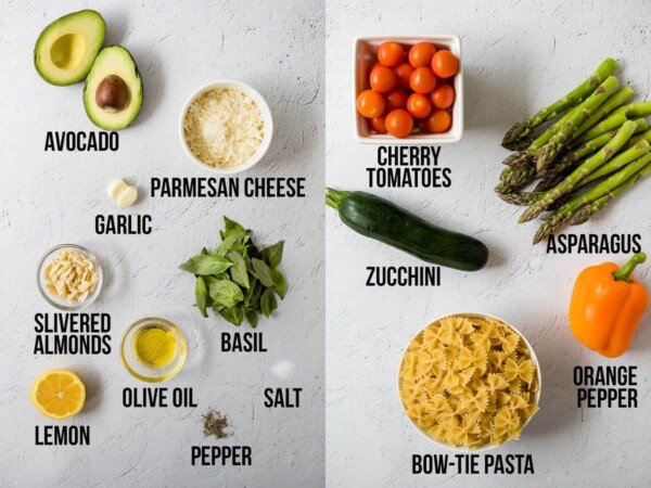 overhead view of labelled ingredients required to make avocado pesto and roasted vegetable pasta salad