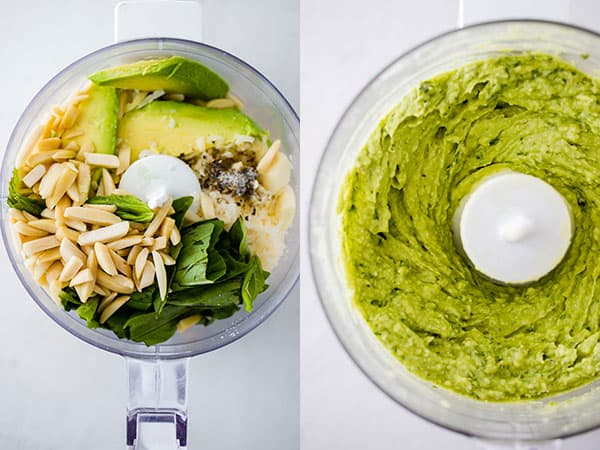 before and after of avocado pesto ingredients in a food processor