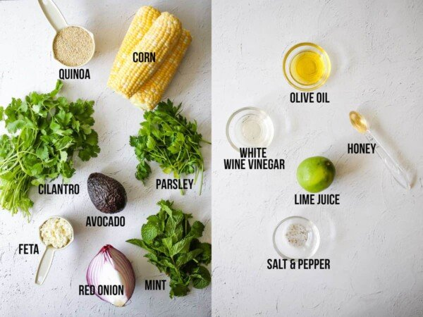 collage image showing the ingredients required to make charred corn quinoa salad