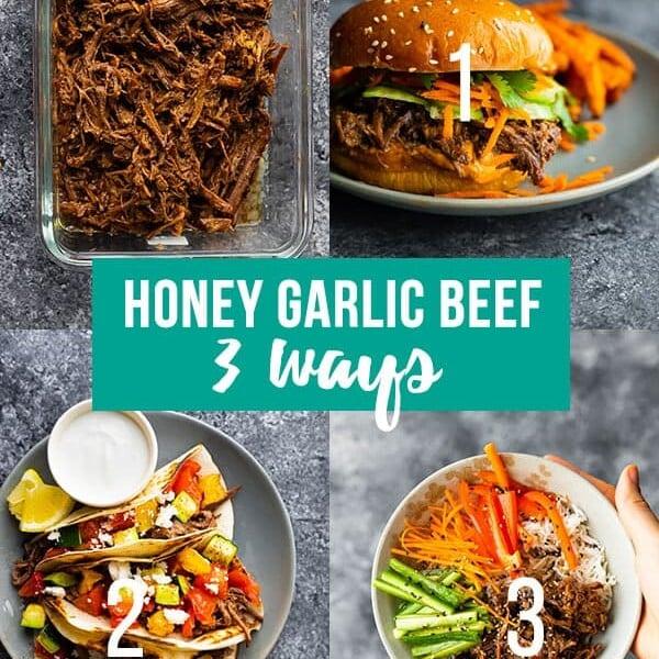 collage image showing honey garlic beef meal prep plan