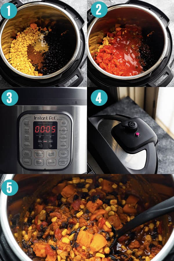 collage image showing how to make vegetarian chili in the instant pot