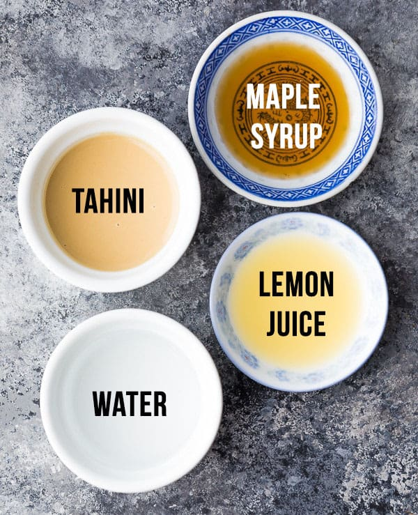 labelled ingredients required to make maple tahini dressing