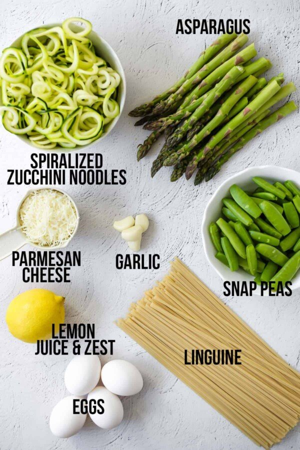 overhead view of ingredients required to make spiralized pasta with egg