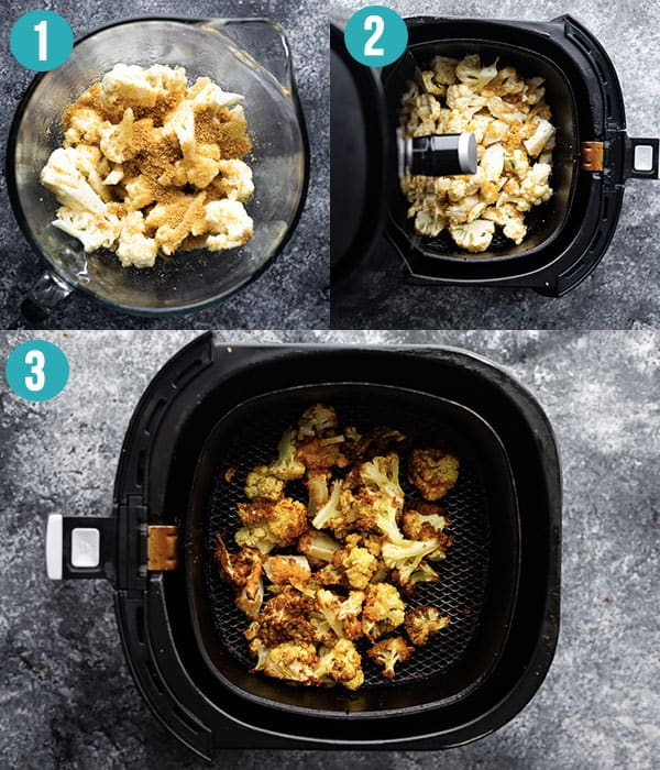 collage image showing how to cook cauliflower in the air fryer