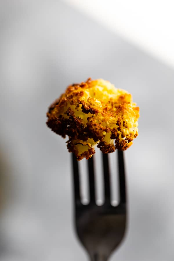 air fried cauliflower on a fork