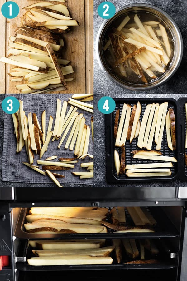 collage image showing the steps required to make air fryer french fries