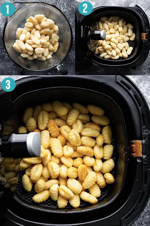 collage image showing how to cook gnocchi in the air fryer