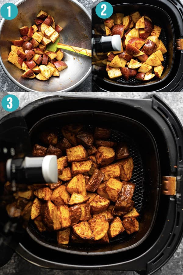 collage image showing how to cook roasted potatoes in the air fryer