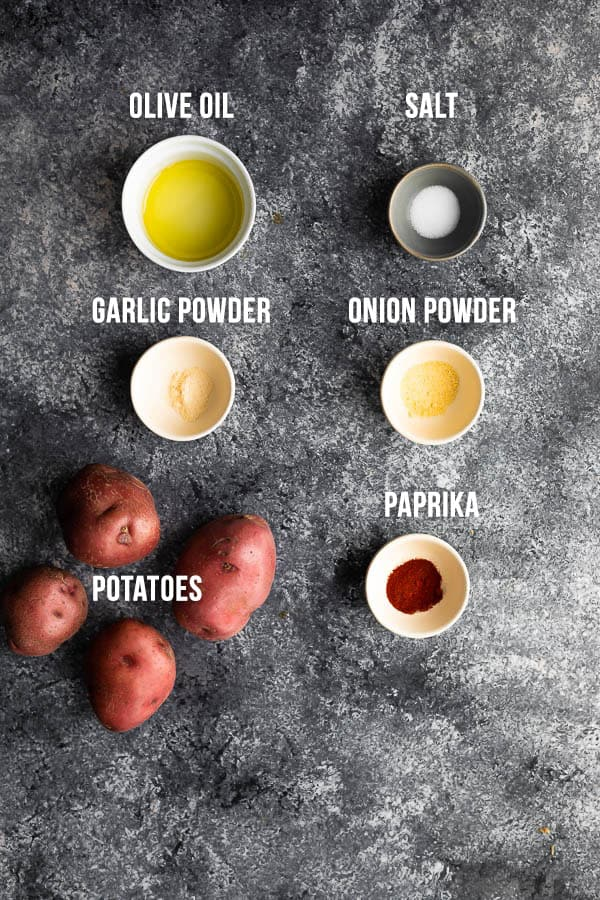 overhead view of ingredients required to make air fryer roasted potatoes