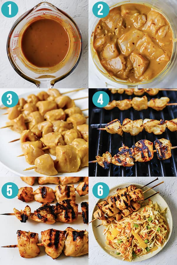 collage image showing how to prep satay chicken