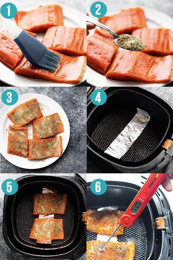 collage image showing how to cook salmon in the air fryer