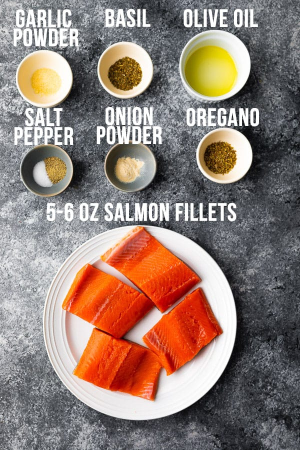 overhead view of ingredients required for air fryer salmon