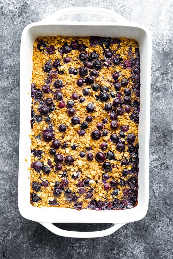 overhead view of baked oatmeal in baking dish