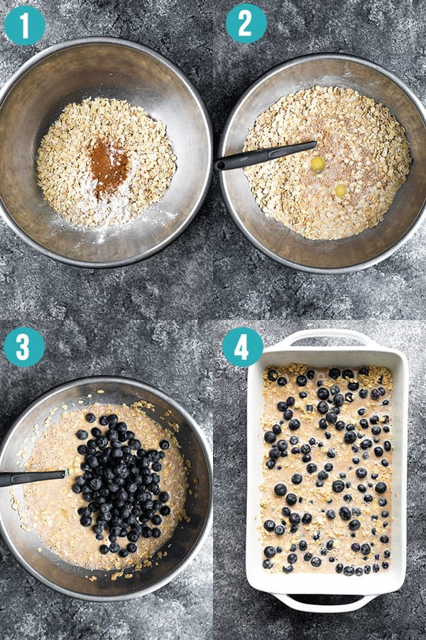 collage image showing how to make baked oatmeal