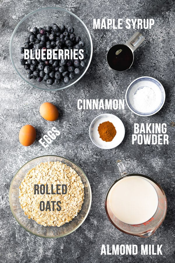 overhead view of ingredients required for blueberry baked oatmeal