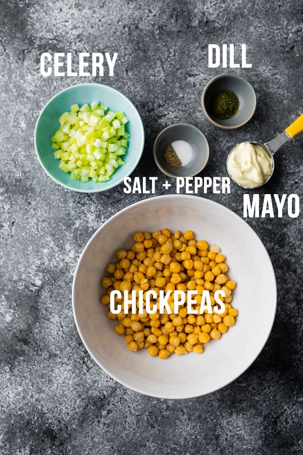 overhead view of labelled ingredients required for chickpea salad sandwich