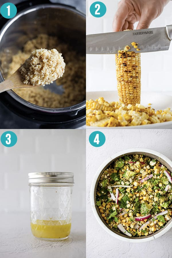 collage image showing the steps to make charred corn quinoa salad