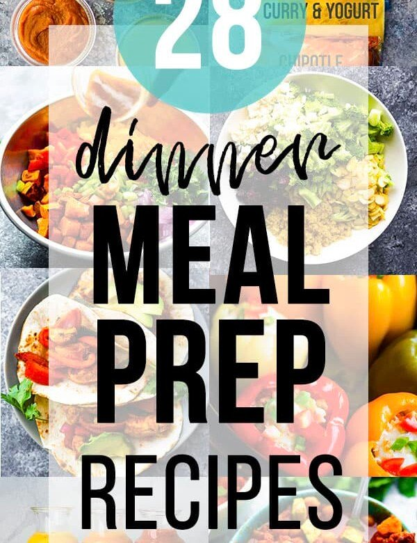 collage image with dinner meal prep ideas