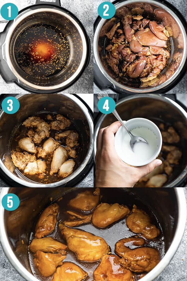 collage image showing how to cook honey garlic chicken in the instant pot
