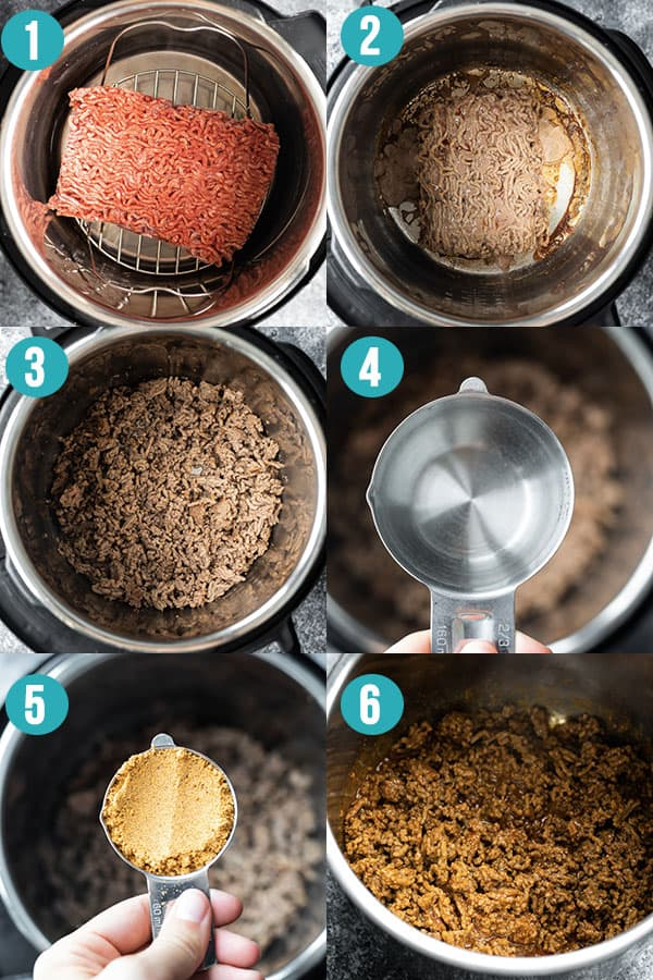 collage image showing how to cook frozen instant pot taco meat