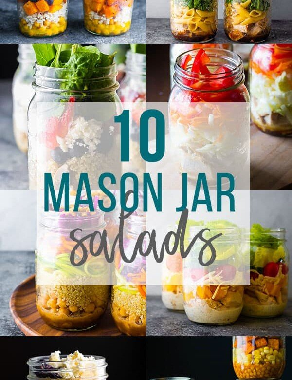 collage image that says 10 mason jar salads
