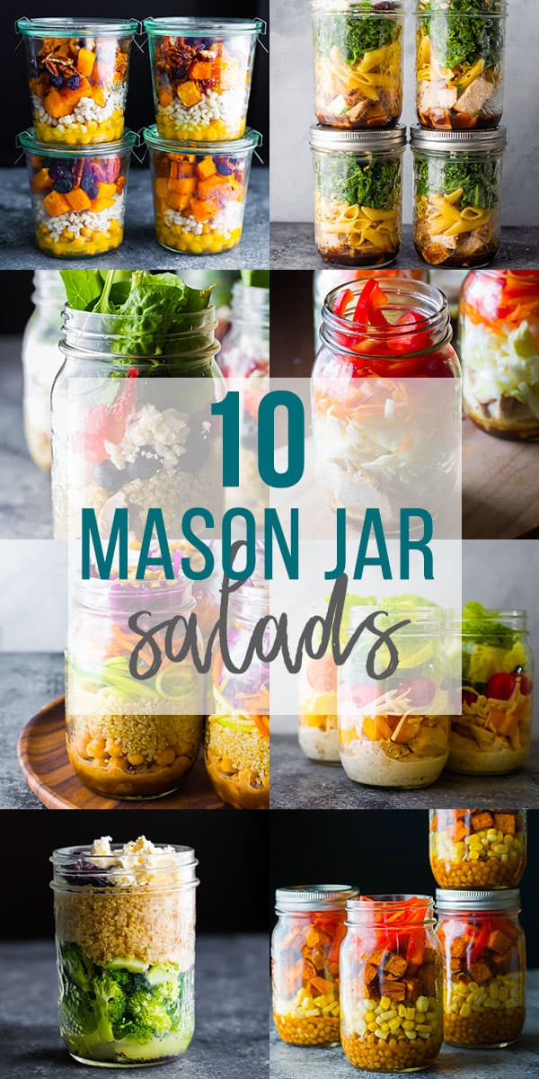 collage image that says 10 mason jar salads