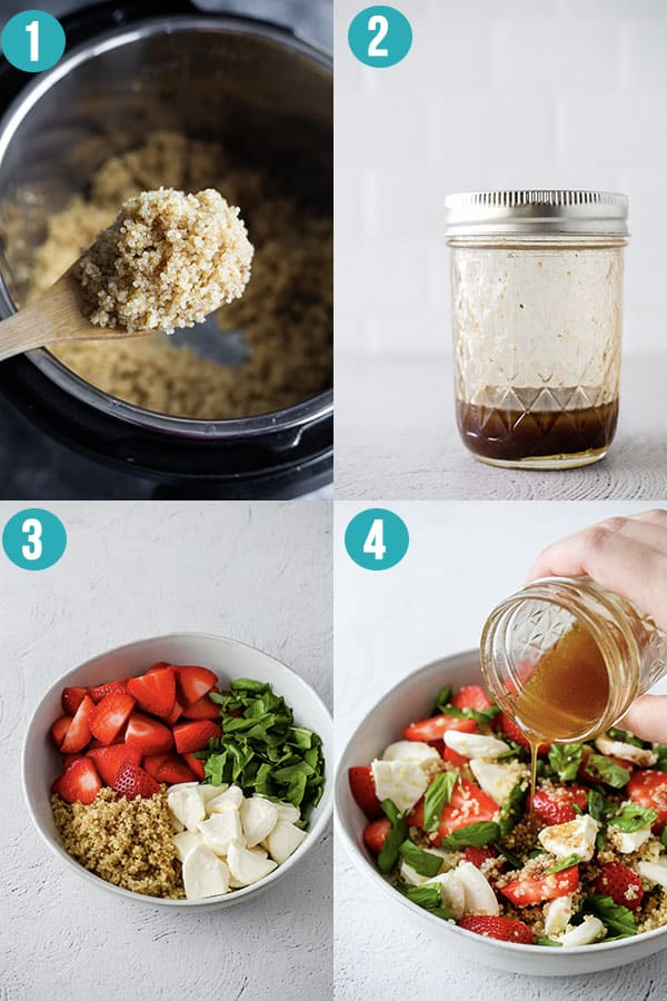 collage image showing the steps required to prep strawberry caprese quinoa salad
