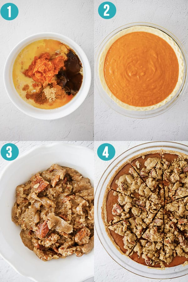 step by step images for how to make bourbon pumpkin pie with streusel