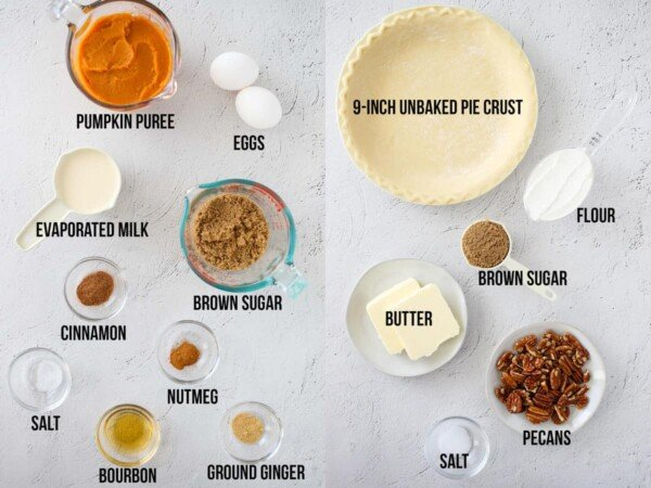 ingredients required to make bourbon pumpkin pie and streusel