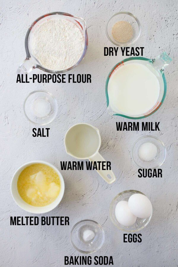 ingredients required to make overnight yeast waffles