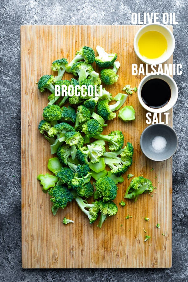 overhead view of ingredients required for air fryer broccoli