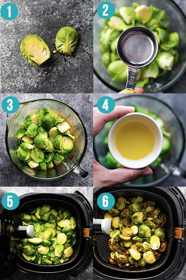 collage image showing how to cook air fryer brussels sprouts