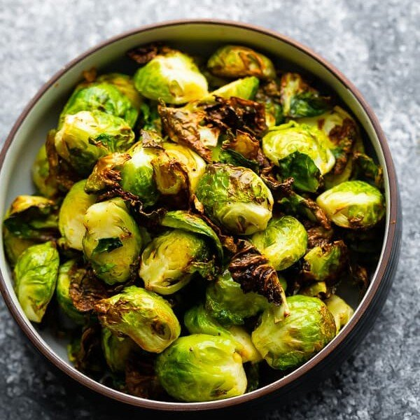 overhead shot of a bowl of air fryer brussels sprouts