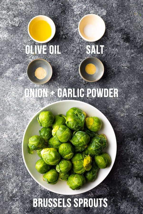 overhead view of ingredients required to make air fryer brussels sprouts