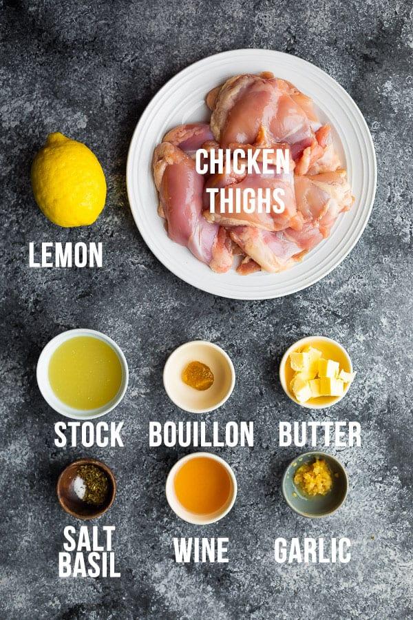 ingredients required to make instant pot lemon garlic chicken thighs