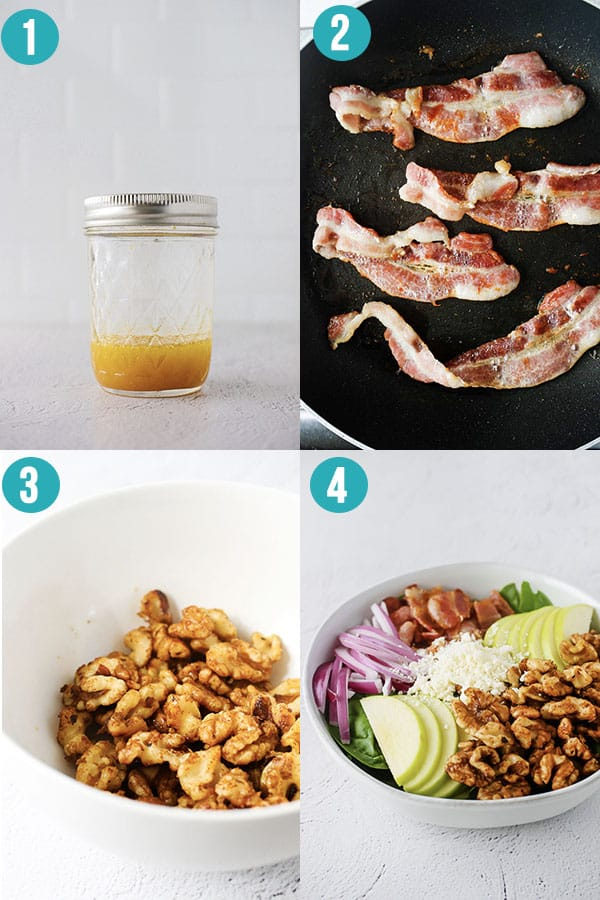 collage image showing step by step directions to make apple bacon spinach salad