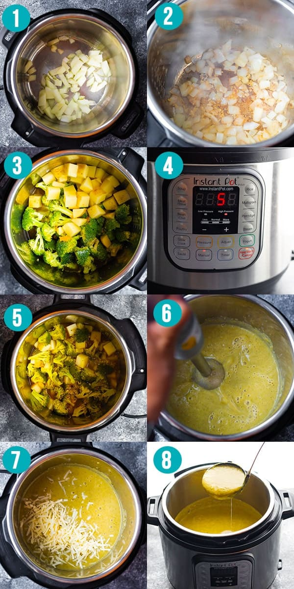 step by step instructions showing how to cook broccoli cheese soup in the instant pot